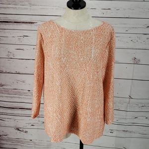 Ruby Rd. Coral 3/4 Sleeve See Through Sweater